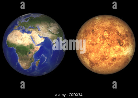 Artist's concept showing Earth and Venus without their atmospheres. - Stock Photo