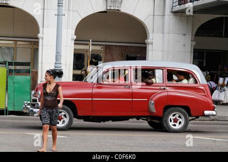 Oldtimer in Havanna Center on Paseo de Marti near Capitol, Cuba - Stock Photo