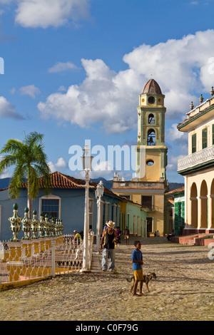 Plaza Mayor, Bell tower of Iglesia y Convento de San Francisco, Trinidad Cuba - Stock Photo