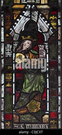 A 14th century stained glass window depicting Saint Barbara, St John Baptist Church, North Luffenham, Rutland - Stock Photo