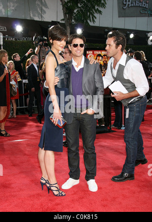 Katie Holmes and Tom Cruise Los Angeles premiere of Tropic Thunder held at Mann's Village Theatre - Arrivals California, - Stock Photo