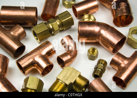 Copper and Brass Plumbing Connectors - Parts - Stock Photo