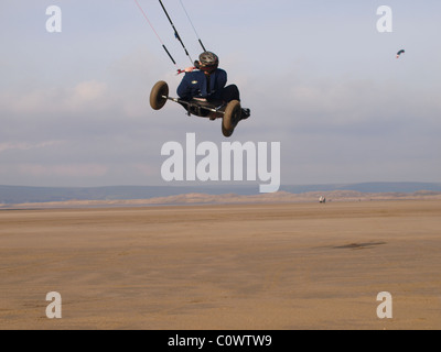 Kite Buggying, Westward Ho!, Devon, UK - Stock Photo