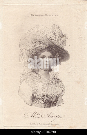 Mrs. Frances Abington (1737-1815), English actress who performed at Drury Lane and Covent Garden. - Stock Photo