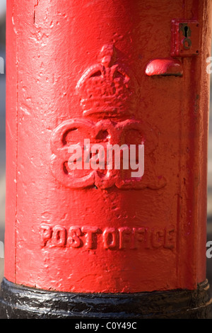 Close up of the cypher on a rare Edward VIII pillar box / Edward 8th / 8 th B-type pillar box / post / letter box. - Stock Photo