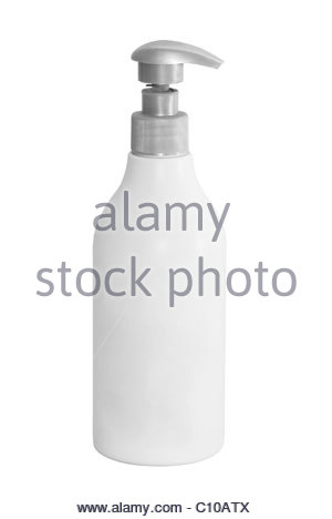Soap plastic dispenser in white. Ready for putting your own label - Stock Photo