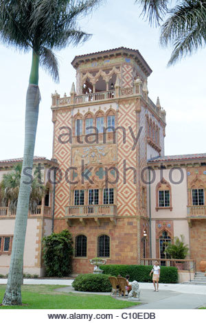 Sarasota Florida John and & Mable Ringling Museum of Art estate Ca d' Zan Mansion Venetian Gothic architecture - Stock Photo