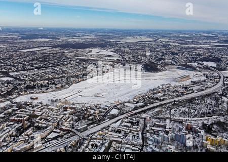 Aerial photo, Phoenix Lake in the snow, Hoerde, Dortmund, Ruhr area, North Rhine-Westphalia, Germany, Europe - Stock Photo
