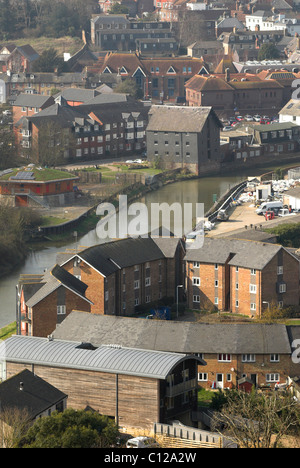 The River Ouse flowing through the East Sussex County Town of Lewes. - Stock Photo