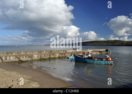 Fishing boat moored in Newquay harbour, Ceredigion, Wales, United Kingdom - Stock Photo