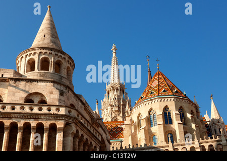 Fishermans Bastion and Church of Our Lady or Matthias Church ( Mátyás templom), Castle District, Budapest Hungary - Stock Photo