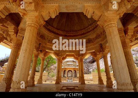 The Gator ki Chatri mausoleum near Jaipur, India - Stock Photo