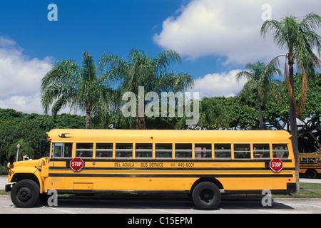 School bus, Coral Gables, Miami, Florida, USA - Stock Photo