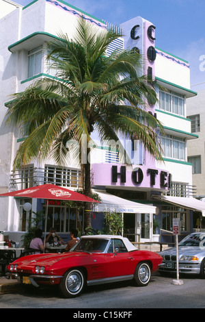 Colony Hotel, Ocean Drive, Miami, Florida, USA - Stock Photo