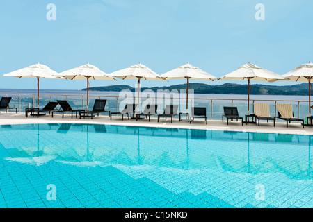 Pool by the ocean, Hotel Radisson Blu, Dubrovnik, Croatia - Stock Photo