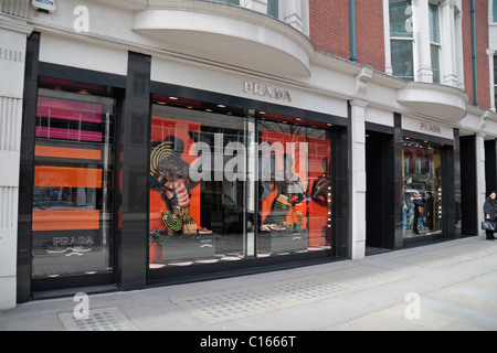 The Prada fashion shop on Sloane Street, London, SW1, England. - Stock Photo