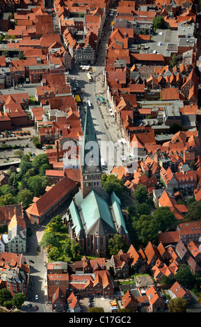 Areal view, St. Johannis Church, Lueneburg, Lower Saxony, Germany, Europe - Stock Photo