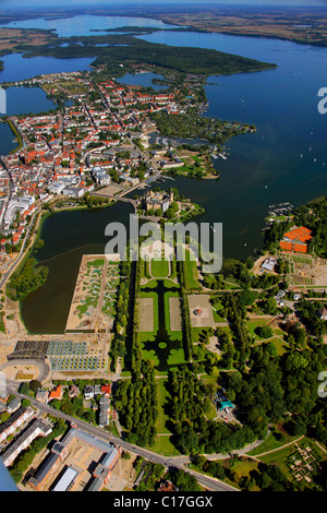 Aerial view, Schwerin Castle, baroque garden, compound of the German Federal Garden Show BUGA 2009, Lake Schwerin, - Stock Photo
