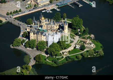 Aerial view, Schwerin Castle, Lake Schwerin, Schwerin, Mecklenburg-Western Pomerania, Germany, Europe - Stock Photo