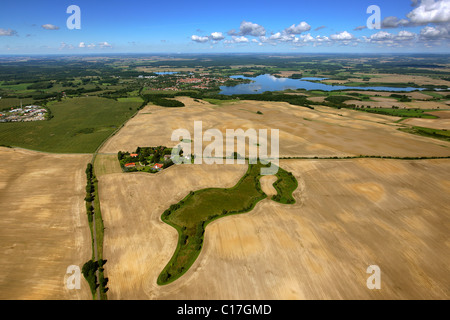 Aerial view, fields, Mecklenburg lake district, Sternberg, Mecklenburg-Western Pomerania, Germany, Europe - Stock Photo