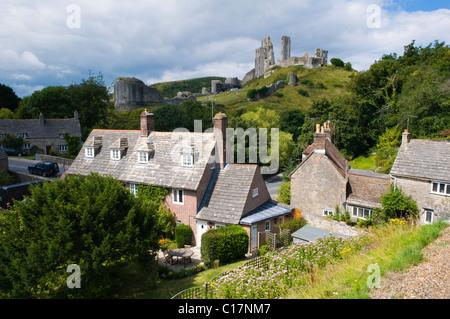 The Village of Corfe Castle in Dorset - Stock Photo