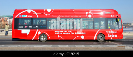 London Hydrogen bus on route RV1 at bus stop on Waterloo Bridge - Stock Photo