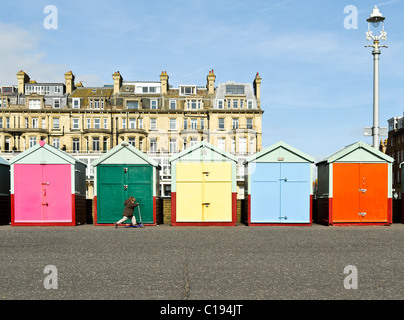 A young boy scoots past multi-coloured beach huts in the sun. Brighton. Sussex. - Stock Photo