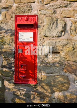 Victorian post box still in use in the village of Nether Booth in Edale in the Peak District of Derbyshire UK - Stock Photo