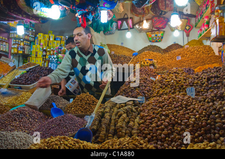 Nut and dried fruit stall in the souqs of Medina the old town Marrakesh central Morocco Africa - Stock Photo