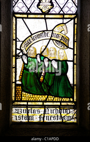 Detail of english medieval stained glass window in St Neot Church Bodmin Moor Cornwall England UK Great Britain - Stock Photo