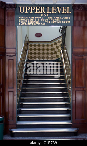 Stairs to the upper level Wayfarers Arcade Southport - Stock Photo
