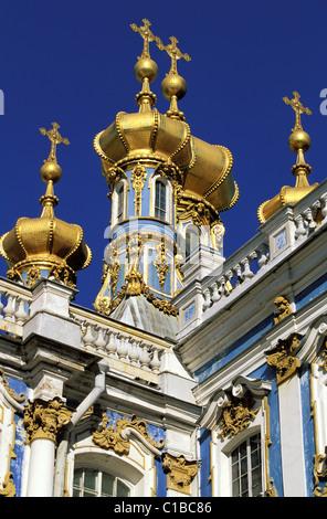 Russia, Saint Petersburg, near Saint Petersburg, Tsarkoe Selo, Catherine the Great's palace in Pushkin - Stock Photo