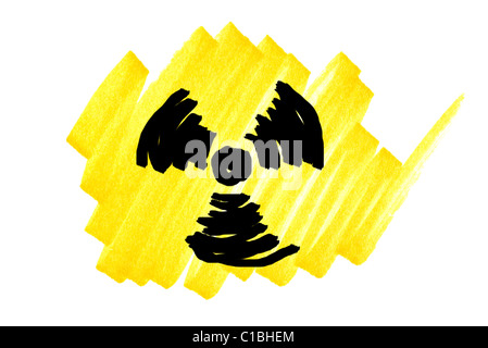 Radioactivity symbol in black and yellow ink marker scribble. - Stock Photo
