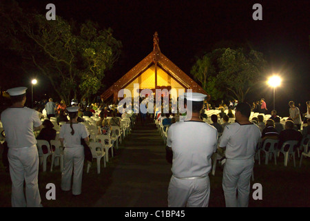 The setting as Prime Minister John Key attends the Dawn Service, Treaty Grounds, Waitangi, New Zealand - Stock Photo