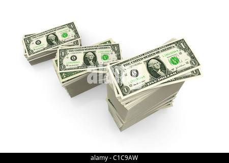Dollar bills - piles of US currency on white - Stock Photo