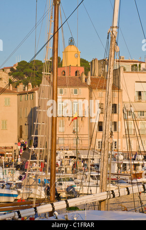 Saint-Tropez, Cote d'Azur, France - August 26, 2010: View of the town and the Harbour. - Stock Photo