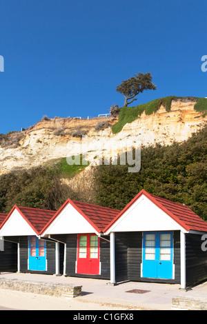 Beach Huts at Branksome Chine Poole Dorset - Stock Photo