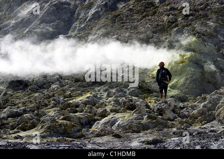 New Zealand, North Island, White Island, active volcano located on an Island at 50kms of the coast of Whakatane - Stock Photo
