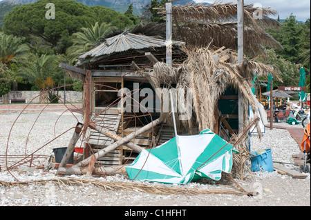 On the beach before season, Beach in Bar city in Montenegro, Europe, Balkans - Stock Photo