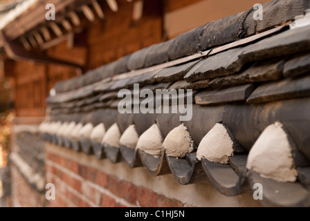 A close up of a wall in the Bukchon village, Seoul, South Korea - Stock Photo