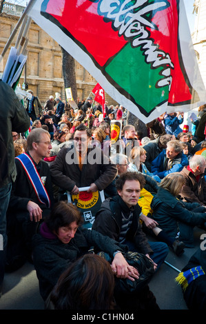 Paris, France, French People Demonstrating Against Nuclear Power, demonstration crowds, Sit-in - Stock Photo
