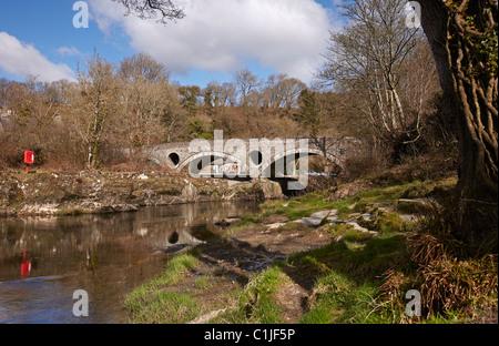 Ancient Bridge over the river Teifi, Cenarth, Cardigan, Wales, UK - Stock Photo