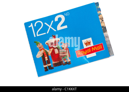 Book of Royal Mail Wallace and Gromit Second Class Christmas Stamps - Stock Photo