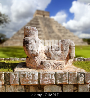 Chac Mool Chichen Itza figure with tray on stomach Mexico Yucatan - Stock Photo