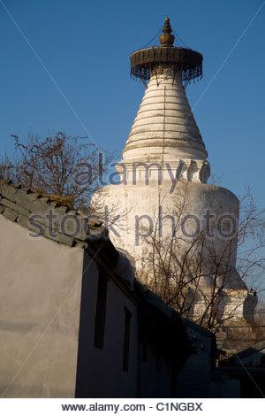 Beijing, Beihai Park, Bai Ta, White Dagoba, China - Stock Photo