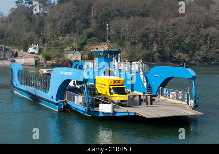 The ' King Harry ' ferry crossing the river Fal near Trelissick gardens in Cornwall, Uk - Stock Photo