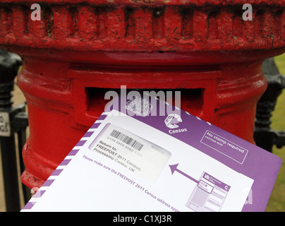 A completed 2011 UK Census form being posted. - Stock Photo