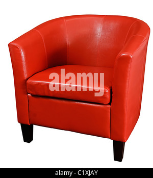 Bright Red leather armchair isolated on a white background - Stock Photo