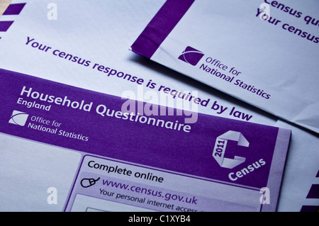 UK Census Form, required by law to be completed on 27th March 2011. - Stock Photo