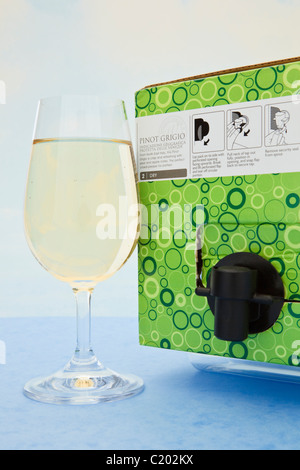 Studio still life. Glass of white wine and a box of Pinot Grigio wine - Stock Photo